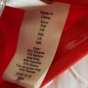 Swim - Strapless red one piece swimsuit s34E.